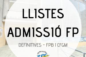 LLISTES DEFINITIVES FPB I GM